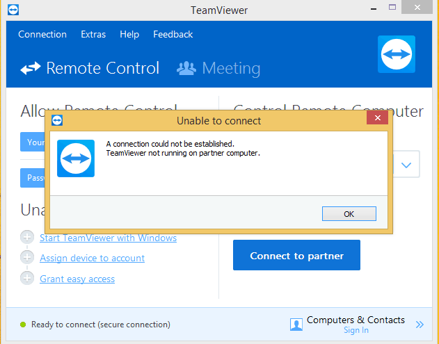 Teamviewer not running on partner computer