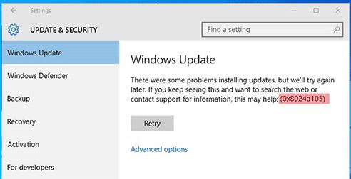 windows update error 0x8024a105